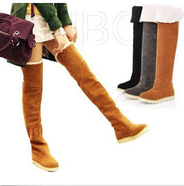 e703af5e0e480 Women Winter Flat Thigh High Snow Boots Girl's Over Knee Boots School Shoes  Ladies Faux Suede