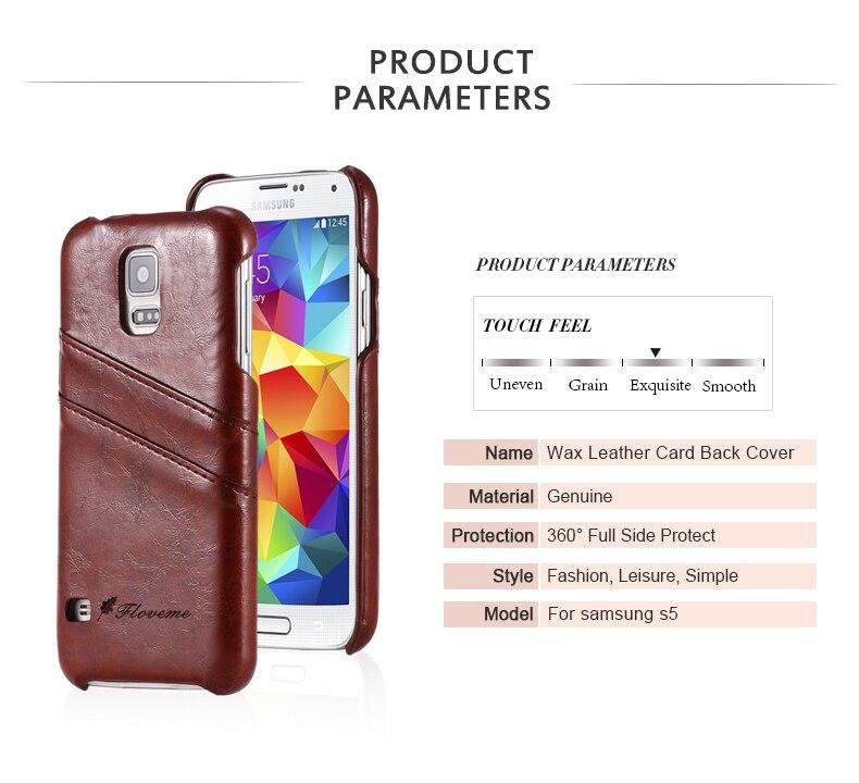 Wysokiej jakości Wosk Skórzane Karty Tylna Pokrywa PU skóra Przypadku  projektu Dla Samsung Galaxy S5 3a29bc2f3a7d