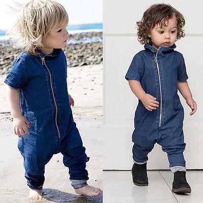 Fashion Denim Newborn Baby Boys   Romper   Jumpsuit Zipper Short sleeve Outfits Clothes Infant Toddler Kids One-Pieces Clothes 3M-3Y