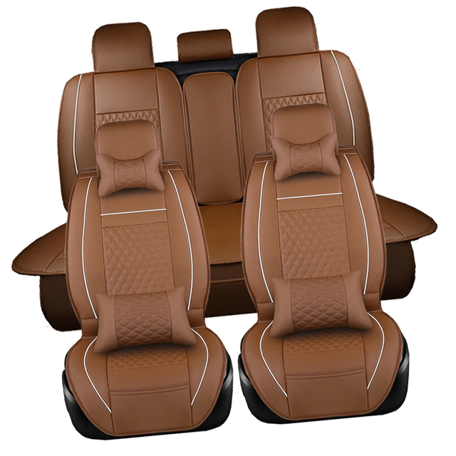 Universal Leather Car Seat Covers Set Front Back Headrest Cover Mesh Protector