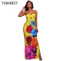 2017 Strapless Maxi Dress Women Summer Floral Print Elastic Bohemian Beach Bandeau Dress Twist Front Knot