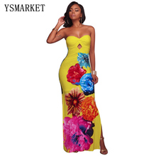 Макси платье без бретелек Для женщин летние Цветочный принт эластичные богемное пляжное платье-бандо с переплетом спереди узел Винтаж Vestidos E4017