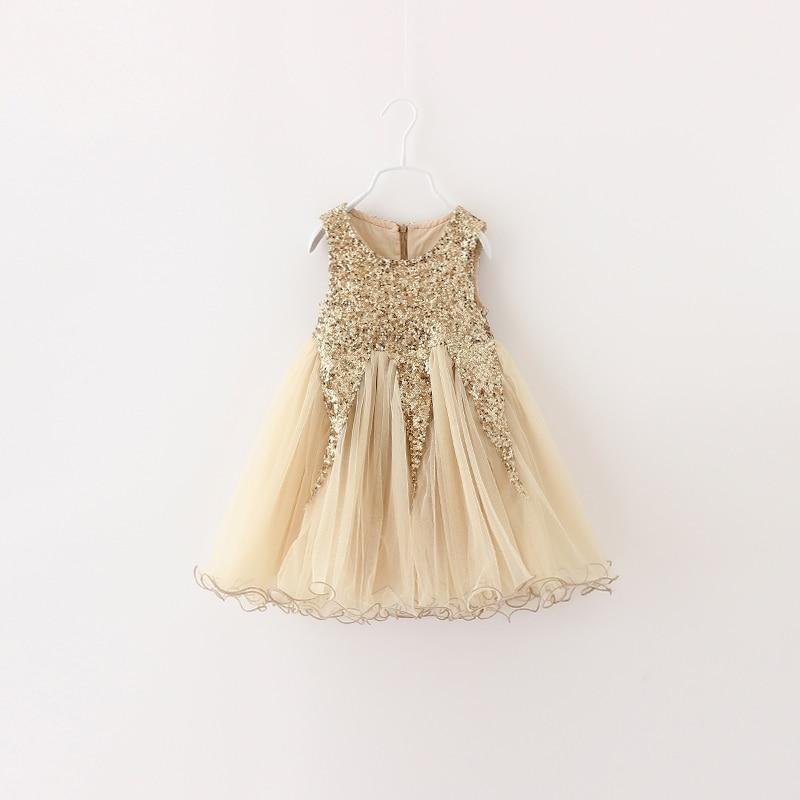 Christmas Gold Sequin Girl Dress 2016 New Summer Ball Gown