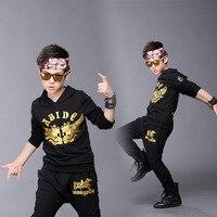 Kids spring Autumn set Black Cotton Costumes Horse Hip Hop dance Pants & Skull King Sweatshirts kids suits twinset