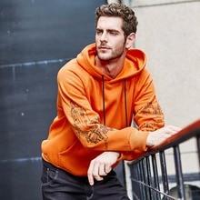 ASALI Fashion Orange Color Hoodies Mens Thick Winter Sweatshirts Men Hip Hop Streetwear USA Size Solid Fleece Hoody Man Clothing