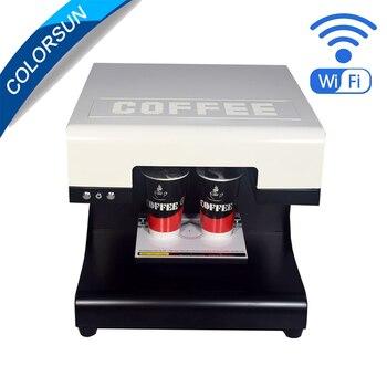 Colorsun 2 cups edible coffee cake printer machine for cake,milk printer with Wifi 4*100ml edible ink free