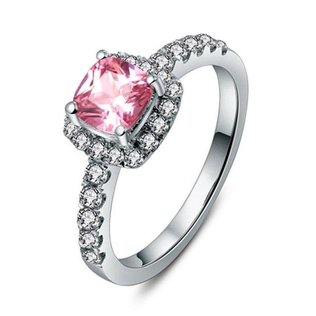Threeman 1ct Brilliant Cushion Synthetic Pink Diamonds Ring Engagement 925 Silver Jewelry For Women