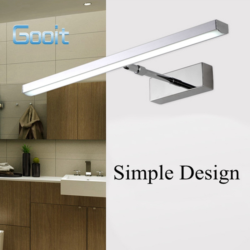 ФОТО 6W Stainless Steel Retractable LED Mirror Wall Light For Home Bathroom