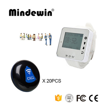 Mindewin 433mhz Waiter Pager Restaurant Wireless Calling System 1PCS Watch Pager M-W-1 and 20PCS Table Call Buttons M-K-