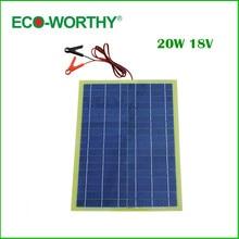 Eco-Worthy 20W Epoxy Solar Panel High Efficiency for 12V Battery Charger &solar charger&solar panel