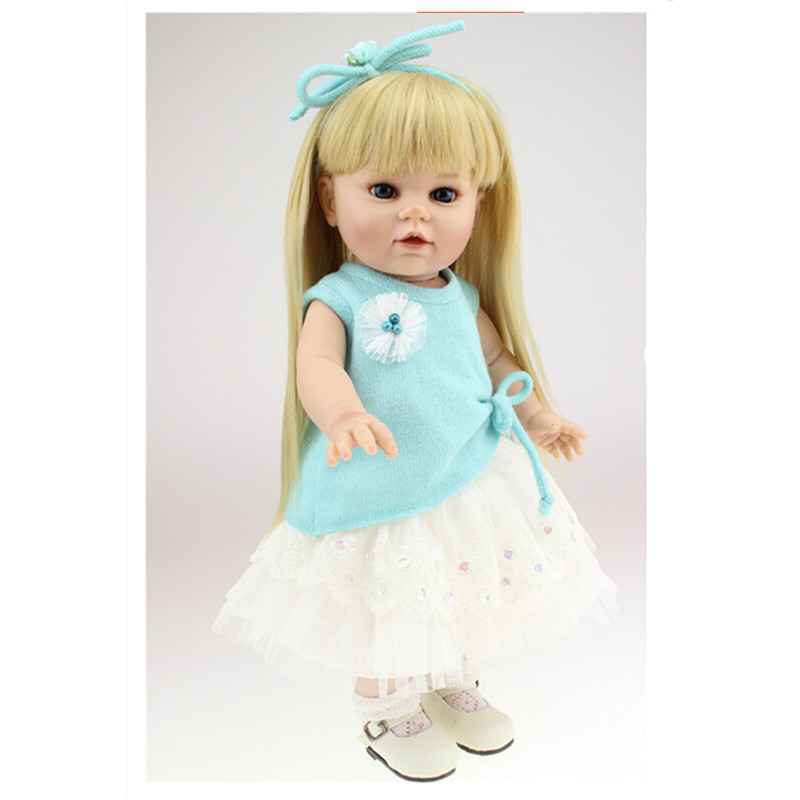 European Fashion 40 CM Silicone Girl Doll with Clothes,16 Inch Lifelike Princess Dolls Toys for Children lifelike american 18 inches girl doll prices toy for children vinyl princess doll toys girl newest design