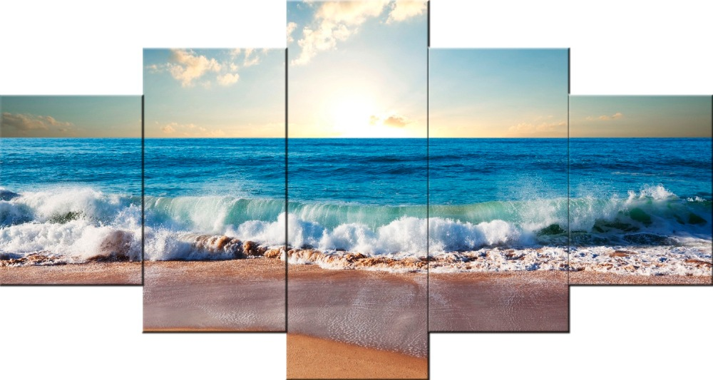5 piece sandy beach wall art wall picture for living room painting