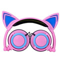 Wired Cat Ear Headphone Folded Christmas Gift Headband LED Light Earphone for Women Cute Unique Shape Headset