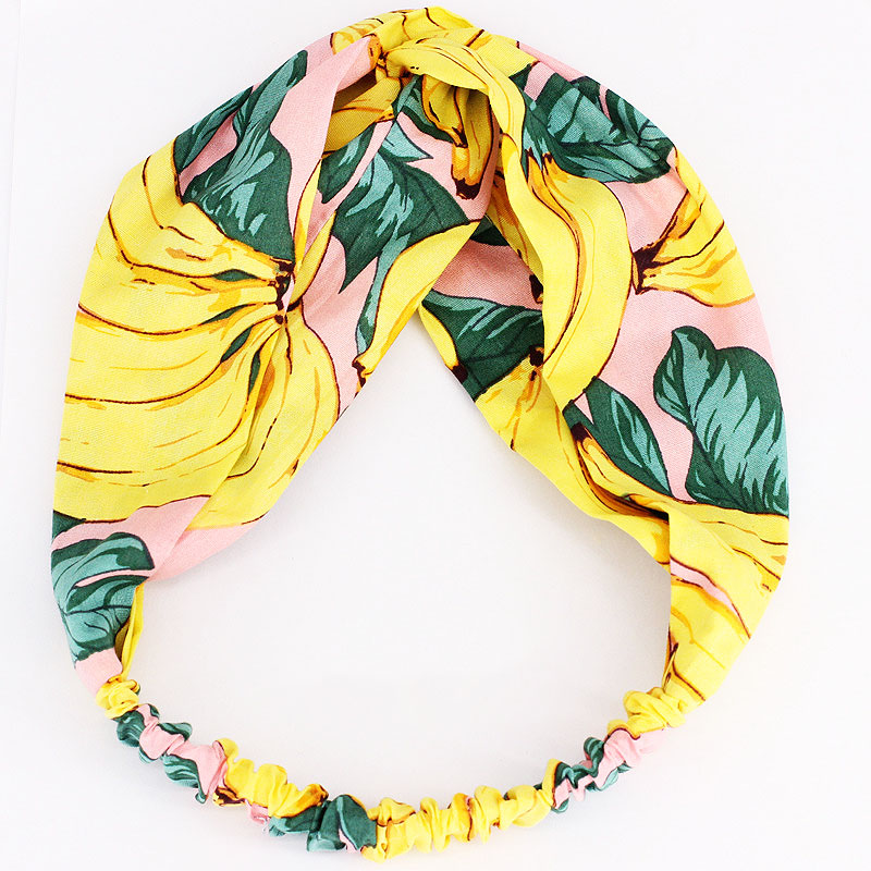 Купить с кэшбэком Fashion 1PC Fruit Leaves Yellow Cloth Hairbands for Women Elastic Hairbands Headwear Girls Hair Accessories
