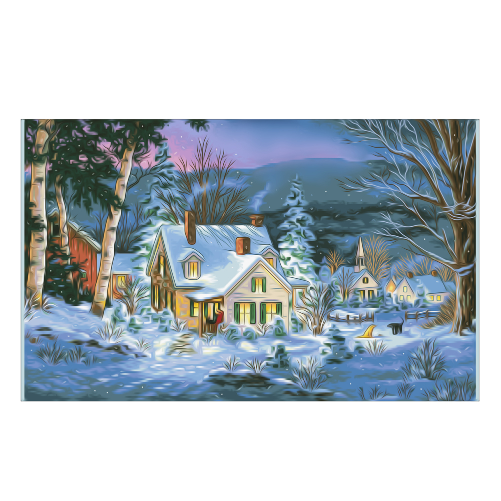 Christmas house painting - 5d Diamond Embroidery House Diy Diamond Painting Christmas Snowy Landscape Diamond Mosaic Picture Home Decor New