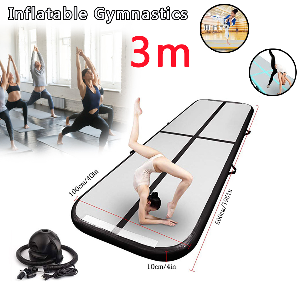 AirTrack Tumbling Air Track Inflatable Gymnastics Floor Trampoline Electric Air Pump for Home Use Training Cheerleading