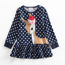 hot deal buy girl dresses jxs neat children's clothes o-neck cotton fawn flowers cute polka dot girl long-sleeved dress animal pattern lh6496