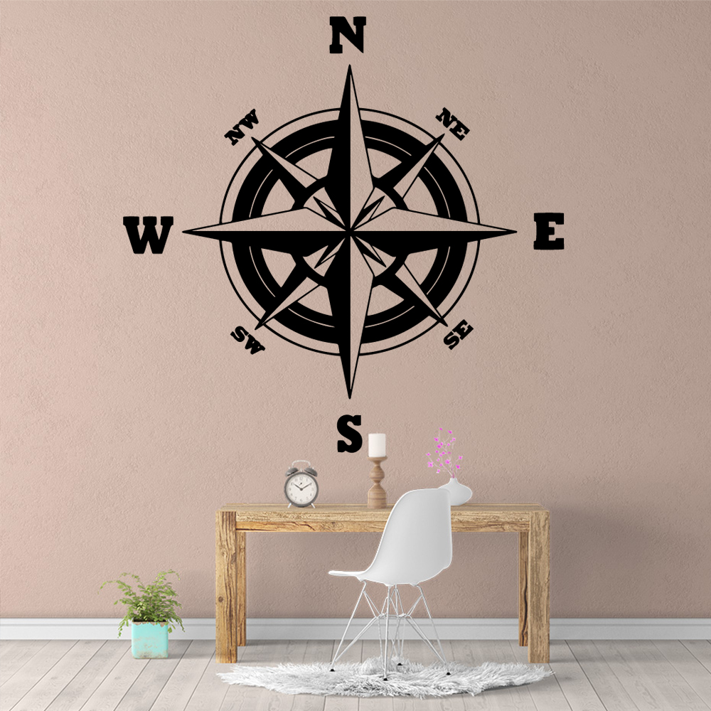 Diy Compass Wall Sticker Pvc Wall Art Stickers Modern Fashion Wallsticker For Baby's Rooms Decorative Vinyl Wall Stickers