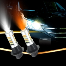 2pcs T20 7443 2835 42 SMD 1000LM Car LED DRL Daytime Running Light Dual Color Switchback Turn Signal Lamp Bulb DC12-24V 20W