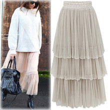 Fashion Women's A-Line Solid Color Lace Ankle Length High Waist Pleated Skirt One Size