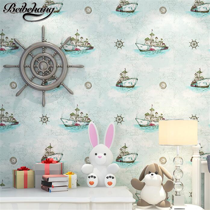 beibehang Children room wallpaper cartoon boy girl warm bedroom nonwovens Mediterranean blue sailboat wallpaper papel de parede beibehang environmental non woven boy girl warm cartoon children s room blue sky clouds balloon wallpaper