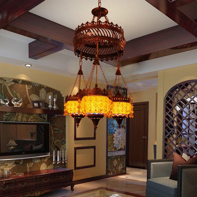 3 Heads American Retro Creative Bohemia Style Pendant Light Restaurant Livingroom Bedroom Decoration Lamp Free Shipping
