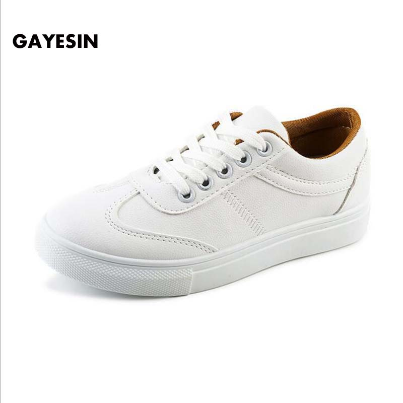 GAYESIN Genuine Leather Women Sneakers Fashion Pink Shoes for Women Lace up White Shoes Creepers Platform Shoes zapatillas mujer