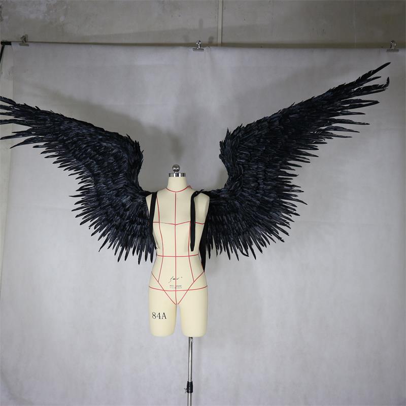 Nero piumato ala diavolo angelo Halloween ali passerella modello di grandi dimensioni degli uomini di cosplay del partito di festa ali