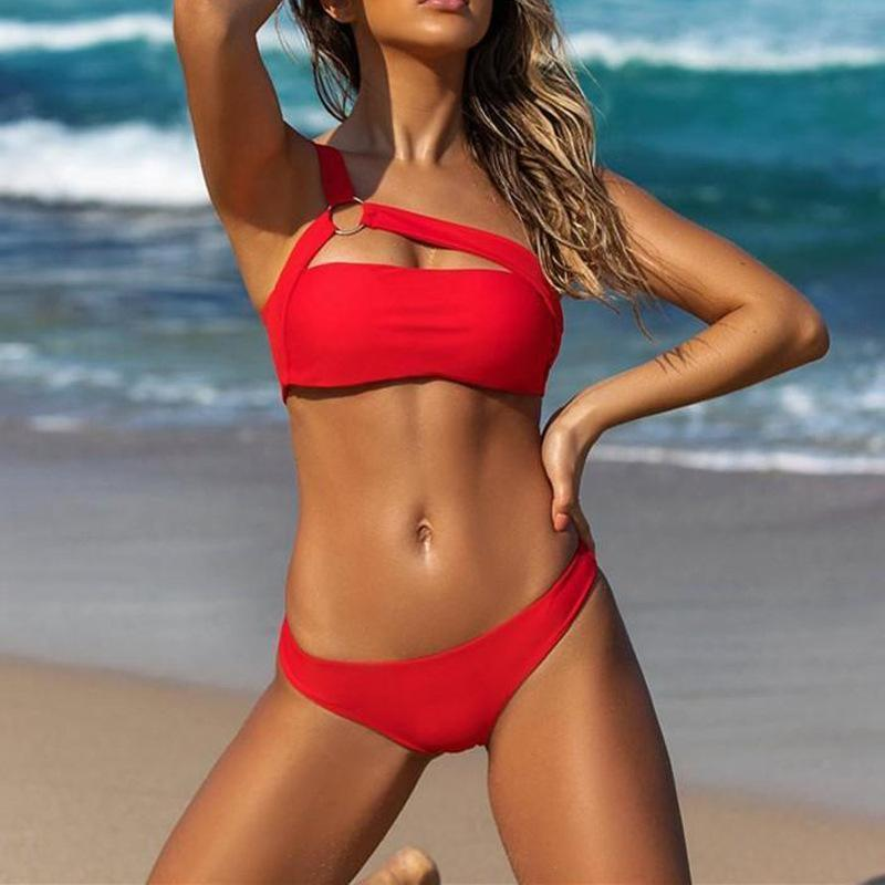 Sexy Bikini 2019 Leopard Swimsuit Red Push Up Swimwear Women One Shoulder Bikinis Set Brazilian Beach Wear Swim For Bathing Suit