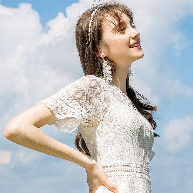 2019 летнее Новое Брендовое женское платье темперамент v образный вырез однотонное платье шикарное женское кружевное платье кружевное сексу