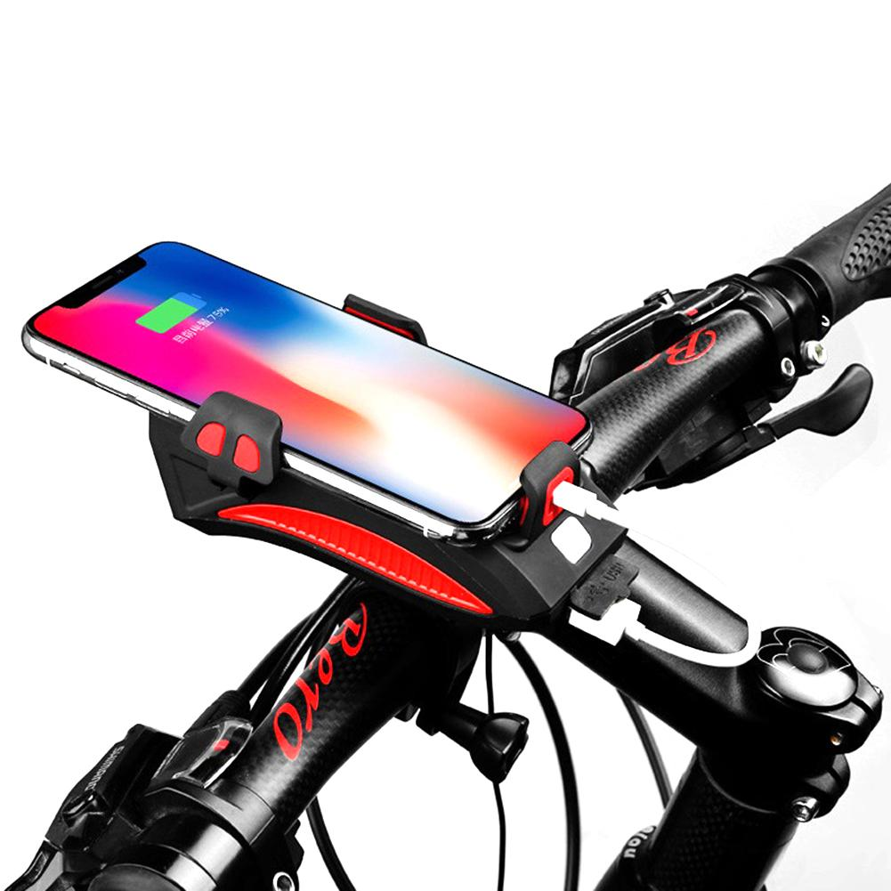 Bicycle Bike Light With Mobile Phone Holder Stand Multi Functional For Outdoor Riding Cycling Headlight Horn 2000mAh Charging