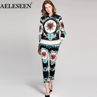 Luxyry Fashion Twinsets Women Spring 2018 High Quality Gemstone Print Full Sleeve Top Vintage Slim Pant