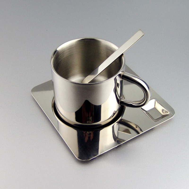 High Quality Brief Stainless Steel Coffee Cup Coffee Mug one set