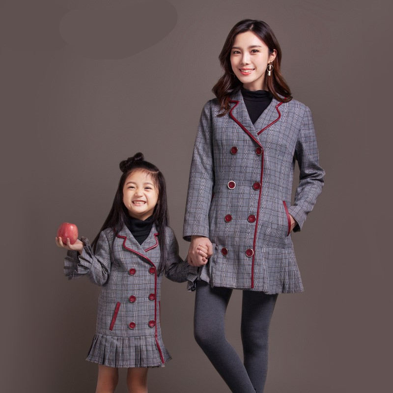 купить Maggie's Walker  mother and daughter autumn new plaid pleated suit girls mother casual fashion wear coat family soft warm coat дешево