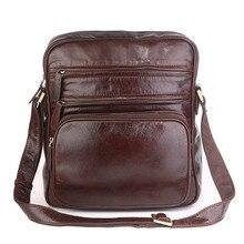 Male Shoulder Crossbody Bags Genuine Leather Travel Vintage Business Brown Brand Flap Ipad Bags Men Messenger Bag Leather Bag