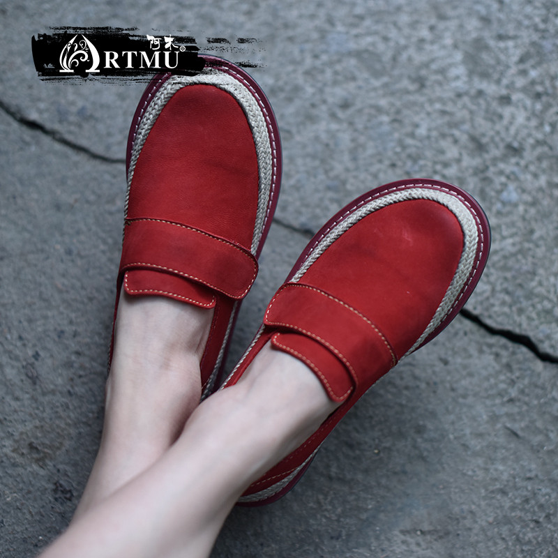 Artmu Original Flats Women Shoes Casual Red Vintage Comfort Red Shoes Handmade Cow Leather Shoes Round