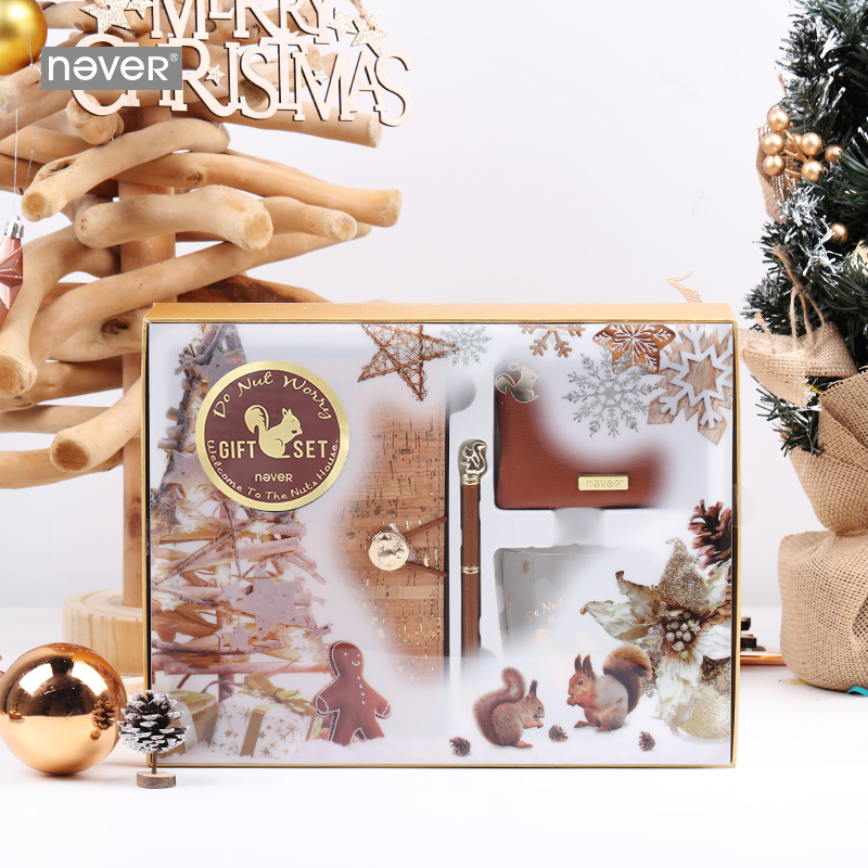 Never Squirrel Series Gift Stationery Set Christmas Notebook Pen Glass Cup Coin Purse Kit Business School