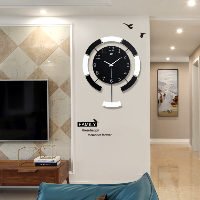 European Minimalist Creative Swing Wall Clock Modern Home Wooden Living Room Mute Clock Fashion Decorative Quartz Clock Hot Gift