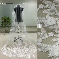 New Arrival 2017 One Layer Wedding Veil Tulle Flower Applique Edge Wedding Accessory Bridal Veil