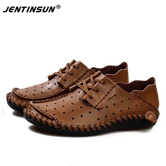 Moda Transpirable Hombres Holgazanes Zapatos de Cuero Genuinos Ocasionales Zapatos de Los Planos de Verano Los Hombres Cómodos Todos los Días Caminando Zapatos de Conducción