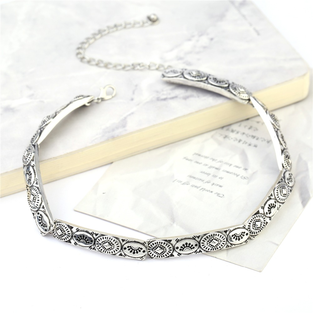 Fashion hot sale short  Antique Silver choker Bohemia geometry carving pendant shaped necklace wholesale retail