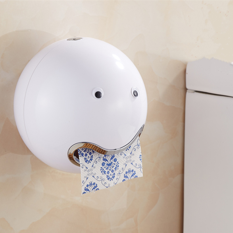 Cute Waterproof Self Adhesive Ball Toilet Paper Holder Wall hanging Removable tissue box for bath hardware Accessories partol removable car tissue box car sun visor tissue paper holder cartoon auto seat back armrest hanging paper napkin container