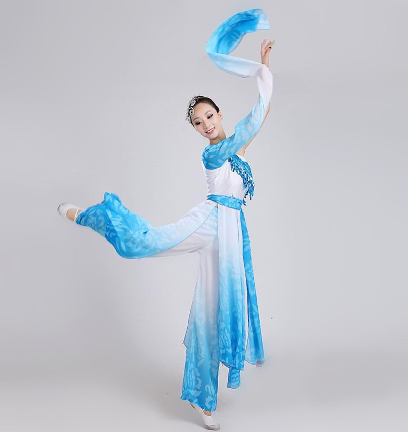 (0135) female blue poetic water sleeves costumes Chinese Classical dance clothes long Sleeves sequined Hanfu ancient fairy set