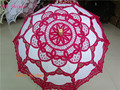 50pcs/lot 29.5inch Fushia Wood Handle Embroidery Wedding Umbrella Parasol For Bridal shower Bridesmaid Gifts Photography Deco