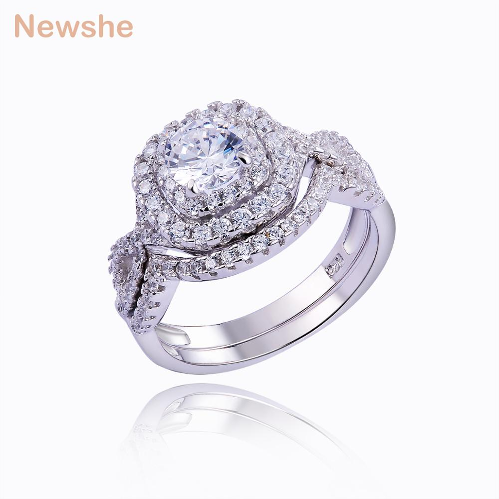 Wedding Ring Sets Sterling Silver: Newshe 1.9 Ct 2 Pcs Solid 925 Sterling Silver Wedding Ring