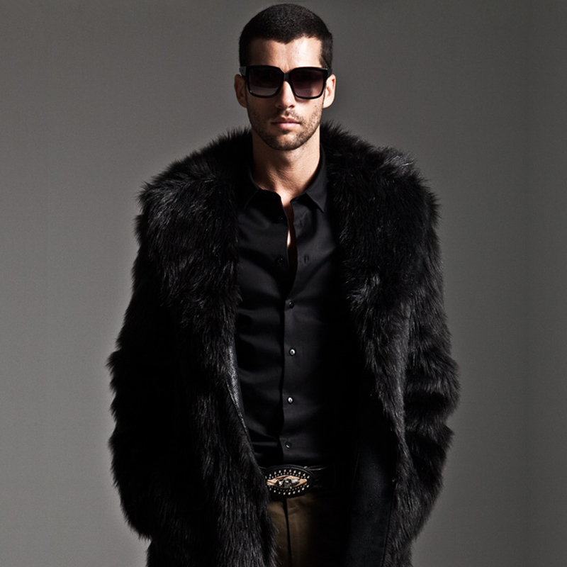 New 2016 winter men faux fur coat Black long section fashion ...