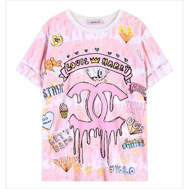 2016 a Primavera Eo Verão Dos Desenhos Animados de Algodão Mulheres Tops Rosa Letra t-shirt de Impressão estilo Harajuku Estudante 1518