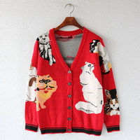 Brand Cardigan 2018 Autumn Winter Cute Warm Long Sweater Jacket Coats Cartoon 7 Cats Jacquard Runway Vintage Knit Sweater Jumper