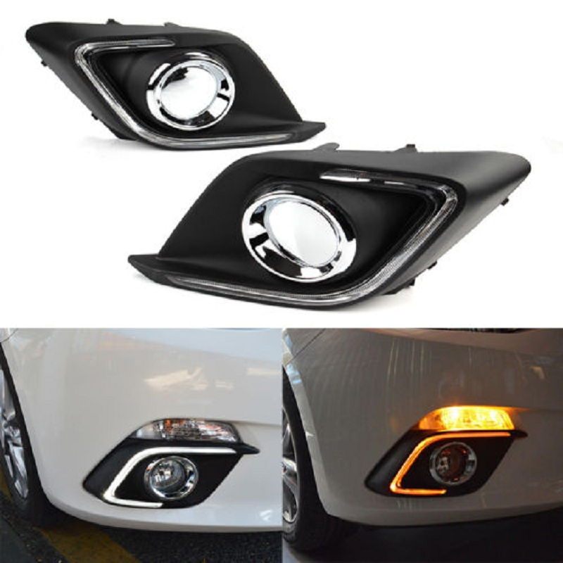 OKEEN 2x DRL for Mazda 3 Alexa 2014 2015 2016 Daytime Running Light White with Turn Signal Light Amber Fog Lamp Free ShippingOKEEN 2x DRL for Mazda 3 Alexa 2014 2015 2016 Daytime Running Light White with Turn Signal Light Amber Fog Lamp Free Shipping