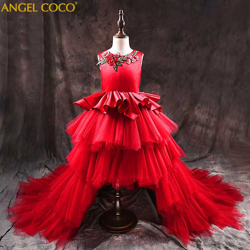 Moderator Big Tail Carnaval Costumes For Kids Piano Costume Children Wedding Dress Princess Girl Party Red Carpet Dress Catwalk moderator
